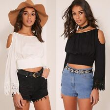 Sexy Women Off Shoulder Long Sleeve Pleated Cropped T-shirt Beach Club Bouse Top
