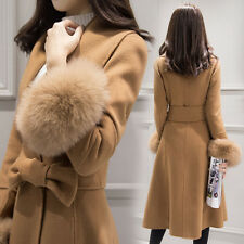 Women Fleece Long Coat Wool Real Fur Collar Cuff Parka Jackets Slim Fit Overcoat