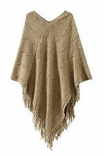 Womens Fashion V Neck Knit Batwing Cape Poncho Tassels Cloak Shawl Sweater Tops