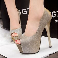 Chic Lady Peep toe Platform Stiletto High Heels Pumps Party Womens Wedding Shoes