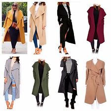 NEW WOMENS LADIES LONG SLEEVE BELTED DRAPED WATERFALL COAT JACKET CAPE CARDIGAN