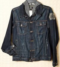 NWT Womens ROCK & REPUBLIC Jean Jacket Distressed Denim Blue Hooded 100% Cotton