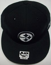 Pittsburgh Steelers Black and White Flat Bill Fitted Hat by Reebok