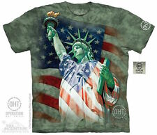 DEFENDING STATUE OF LIBERTY T-Shirt Lady American Flag USA Patriotic S-3XL NEW!