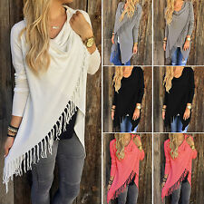 Women Long Sleeve Knitted Cardigan Loose Sweater Outwear Jacket Tassel Coat S-XL