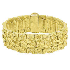 Mens Classic 22.5mm Heavy Plated 14k Yellow Gold Thick Wide Nugget Link Bracelet