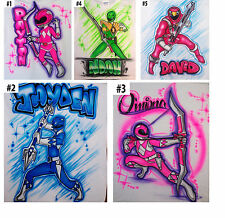 Airbrushed Custom Power Rangers Pink Red Blue T-shirt Bodysuit Hoodie Pillowcase