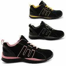 WOMENS LADIES GROUNDWORK LACE UP LEATHER STEEL TOE CAP SAFETY TRAINER WORK SHOES