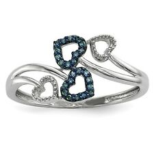 Sterling Silver W/ Rhodium-plated Blue and White Diamond Multi Heart Ring