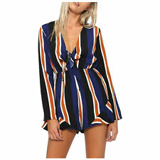 Womens Stripe V-Neck Long Sleeve Elastic Waist Casual Rompers Jumpsuits