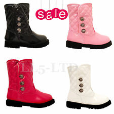Girls Infant Babies Children Winter Ankle Patent Party Casual Boots Size 3-7
