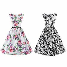 Women Vintage Floral Printed Swing Pinup Retro Cocktail Party Sleeveless Dress