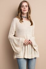 S-M-L Easy to Please Knit Sweater Top Boho Bell Sleeves- Easel - Oatmeal