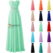 Stock Beading Formal Long Wedding Bridesmaid Dress Prom Party Evening Gowns 6-18