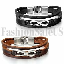 Men's Vintage Multilayer Leather Infinity Symble Cuff Bangle Bracelet Wristband