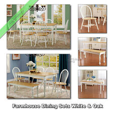 Farmhouse Dining Room Sets, Tables Chairs Benches Wood Country Set, White & Oak