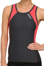 NEW 2XU PERFORM TRI SINGLET TOP WOMEN SMALL S TRIATHLON TRAINING CHARCOAL