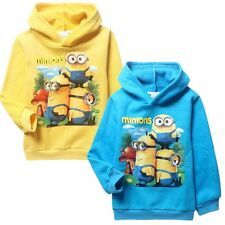2COLOR Minions Despicable Me Kids Boys Girls Fleece Hoodies Cartoon Coats Jumper