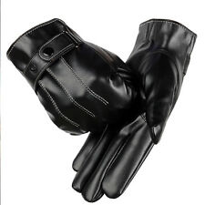 Leather Gloves Full Finger Mens Motorcycle Driving Winter Warm Touch Screen PU