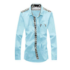 Men Point Collar Paisleys Chest Pocket Casual Shirts