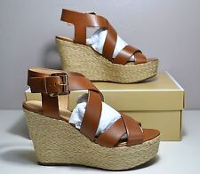 NWT MICHAEL KORS LUGGAGE LEATHER CELIA MID WEDGE SANDALS SHOE SZ 6-10 40S6CEMA4L