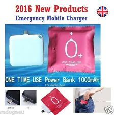 NEW 2016 Emergency One Time Use Mobile Charger Disposable Power Bank 1000mah UK
