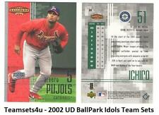 2002 Upper Deck BallPark Idols Baseball Team Sets ** Pick Your Team Set **