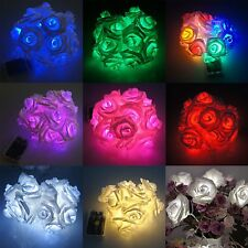 20 LED Battery Operated Rose Flowers String Fairy Lights Party Home Decoration S