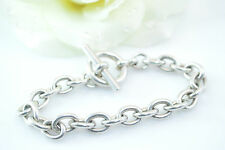 Cable Chain with Toggle Clasp Bracelet Sterling Silver 36.8g Vintage Estate