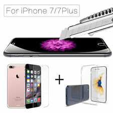 Crystal Clear Soft TPU Case+ Tempered Glass Screen Protector for iPhone 7/7 Plus