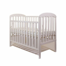 New Mia Drop Side Baby White Cot + / - British Made Safety Mattress 120x60x10cm