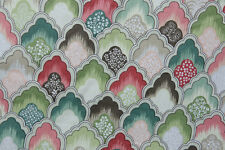 P/Kaufman Coral, Green and brown scalloped Drapery Fabric