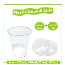1000pc Clear Disposable Plastic and 1000pc Flat Lids 225ml, 280ml,350ml, 425ml