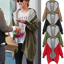 Oversized Womens Ladies Zip-Up Hoodies Hooded Cardigan Long Parka Jacket Coat
