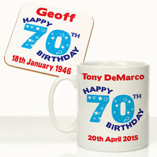 Personalised Mens 70th Birthday Mug Coaster Set Grandads 70th Birthday Gift Idea