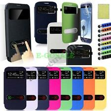PU Leather Wallet Flip Pouch Case Cover For Samsung Galaxy S3 SIII i9300 Window