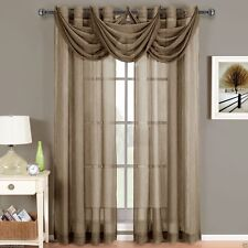 """2 Abri Mocha Brown Grommet Crushed Sheer Curtain Panels Size 50"""" x 63"""""""