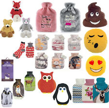 Large Hot Water Bottle WINTER POM FAUX FUR FLEECE KNITTED COVER BOTTLES GIFTSET