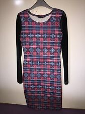 Aztec Red Blue And Black Tight Dress Size 8-10 Mesh Arms Fashionable