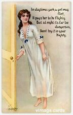 Comic Lady in Nightdress, Stocker Shaw Postcard 'Don't try it in your Nighty'