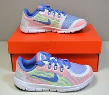 NWT GIRLS KIDS NIKE FREE 5 PS WHITE BLUE RUNNING SNEAKERS SHOES SZ 11C-6Y