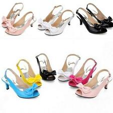 Chic Womens Bowknot Ankle Strap Shoes Mid Heels Sandals Pumps Shoes All AU Size