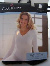 CUDDL DUDS SOFTWEAR with Lace Edge V-Neck  with Long Sleeves White or Black