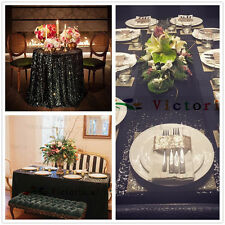 Black Sequin Table Cloth, Shimmer Sparkly Overlays Tablecloths for Wedding