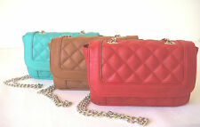 Quilted clutch chain strap crossbody purse faux leather messenger shoulder bag