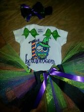 1st halloween  tutu outfit, owl tutu outfit, witch  sizes preemie-18 months