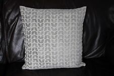 Cushion cover Handmade Sage pale olive green chenille leaf on cream