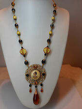 Old Czech necklace with glass drop!!!