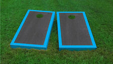 Premium Cyan Border Onyx Stained Cornhole Board Game Set