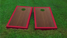 Premium Red Border Rosewood Stained Cornhole Board Game Set